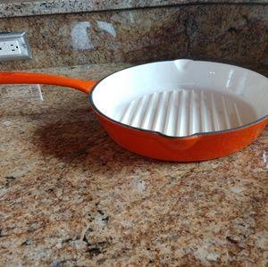 "Rachael Ray 11"" Cast Iron Grill Pan, Orange"